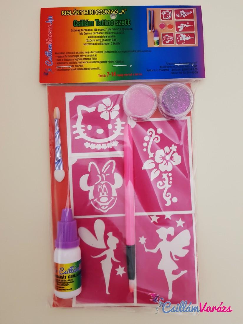 Kislány csillámtetoválás mini csomag A