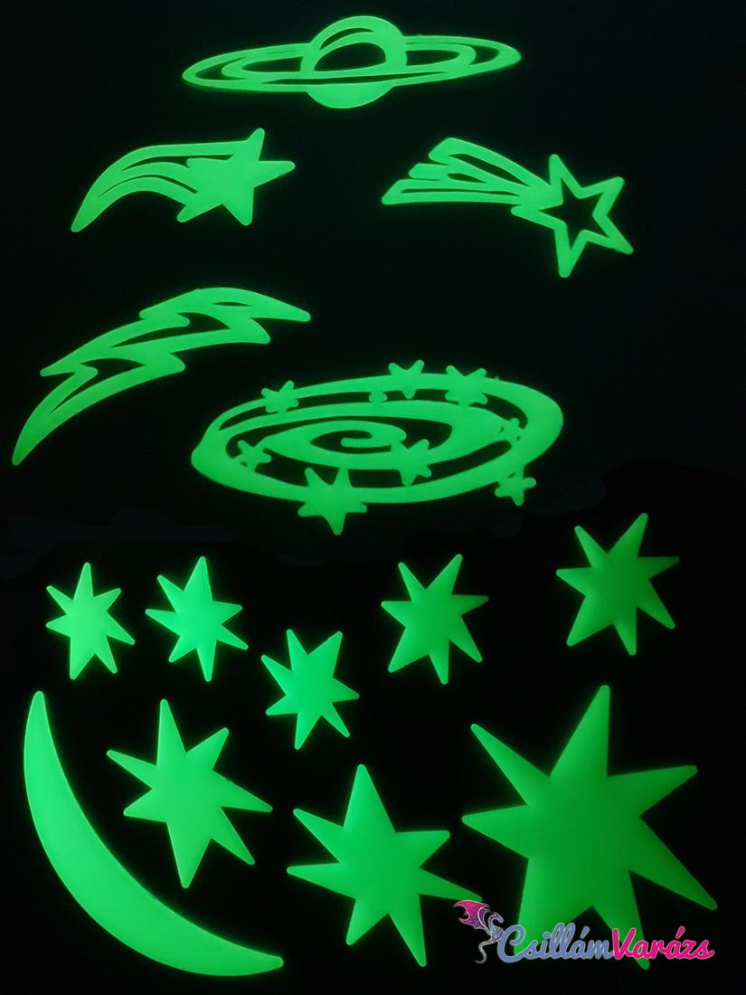 sötétben világító fluoreszkáló égitestek falmatrica