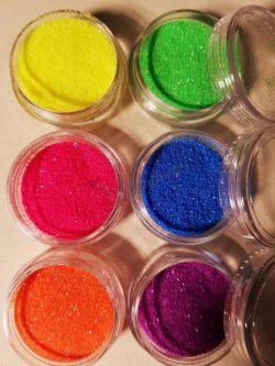 6 db-os neon színű csillámpor szett