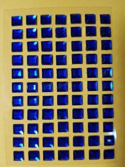 Kék színű négyzet alakú csiszolt kő hatású strasszkő (77db)