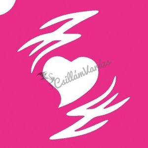 Szív 14 csillámtetoválás sablon