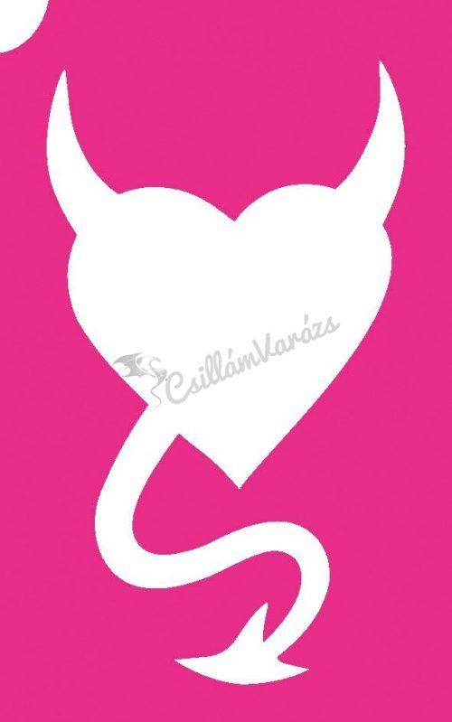 Szív 15 csillámtetoválás sablon