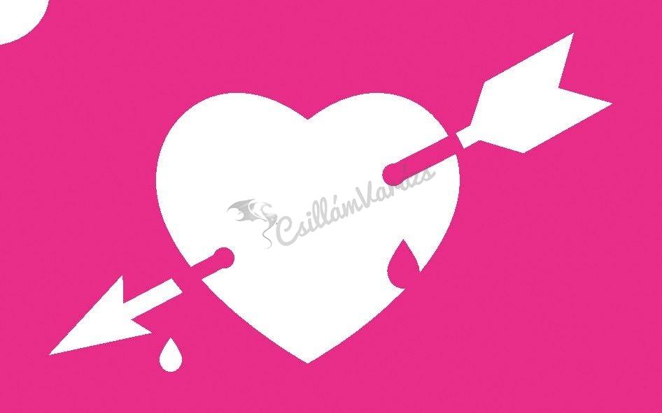 Szív 19 csillámtetoválás sablon