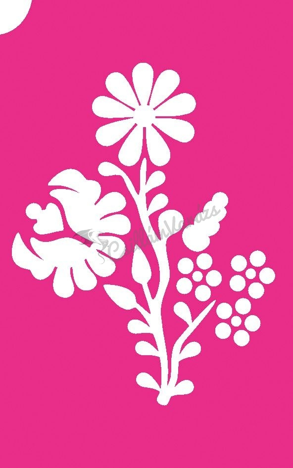 Virág 60 csillámtetoválás sablon